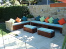Outdoor Bench Seating with Mobile Ottomans