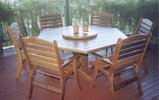 1.5 Hexagonal Table Laguna High Back Chairs